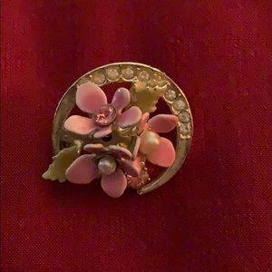 New Vintage Coro Pink Flowers & Faux Pearls Brooch